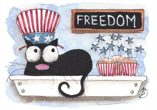 Fat Cat Painting - Independence Day Fat Cat by Lucia Stewart