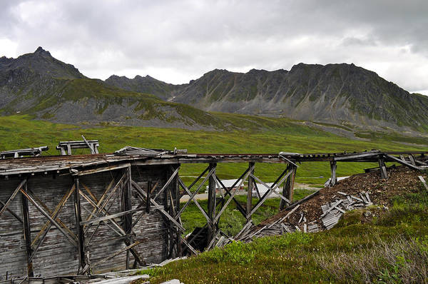 Aerial Tramway Wall Art - Photograph - Independence Mine State Historical Park by Cathy Mahnke