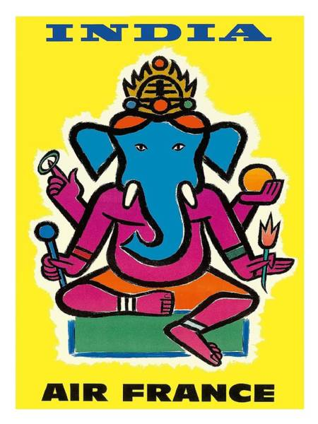 Deity Digital Art - India Air France Hindu Lord Ganesha Vintage Airline Travel Poster By Jean Carlu by Retro Graphics