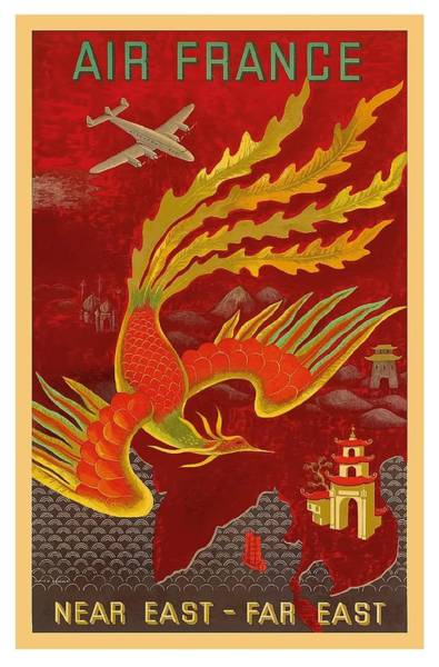 Boucher Wall Art - Digital Art - India, China And Japan, The Bird Of Paradise Countries - Air France Vintage Airline Travel Poster by Retro Graphics
