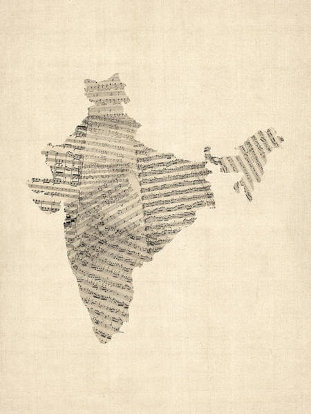 Wall Art - Digital Art - India Map, Old Sheet Music Map Of India by Michael Tompsett