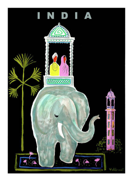 Wall Art - Painting - India, Romantic Elephant Ride, Vintage Travel Poster by Long Shot