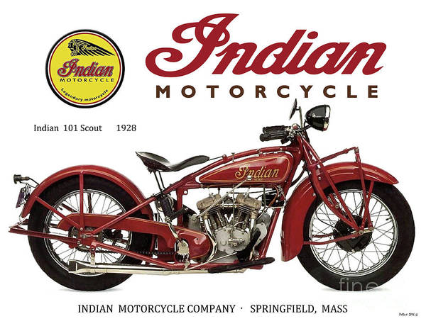 Le Mans Mixed Media - Indian 101 Scout, 1928, Motorcycle Sign, Vintage, Original Art by Thomas Pollart