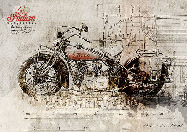 101 Digital Art - Indian 101 Scout 1931 by Yurdaer Bes