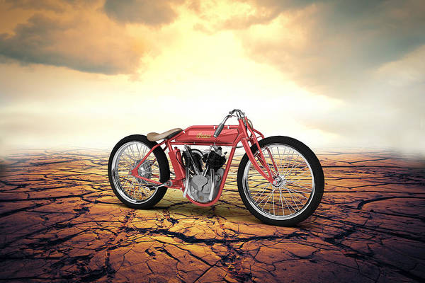 Wall Art - Digital Art - Indian Board Track Racer 1920 Desert by Aged Pixel