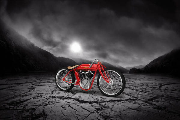 Wall Art - Digital Art - Indian Board Track Racer 1920 Mountains by Aged Pixel