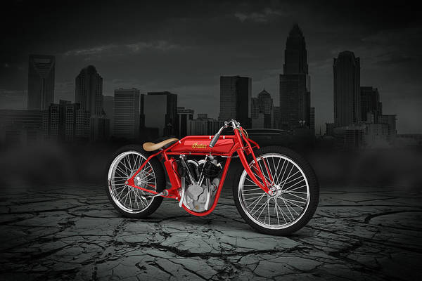 Wall Art - Digital Art - Indian Board Track Racer 1920 City by Aged Pixel