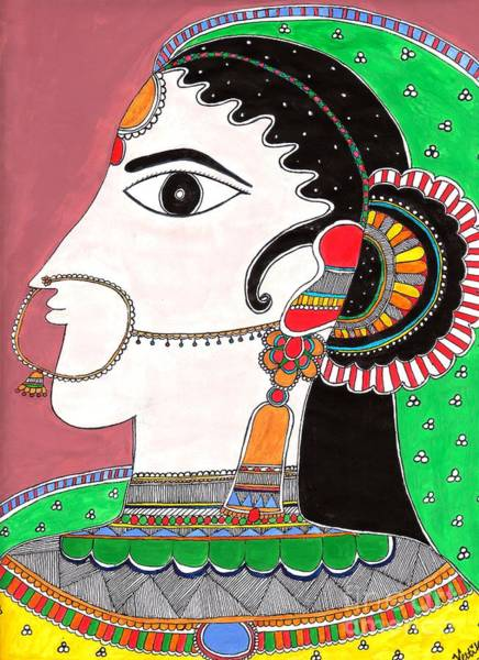 Madhubani Painting - Indian Bride -colored Version by Vertikaa Singh