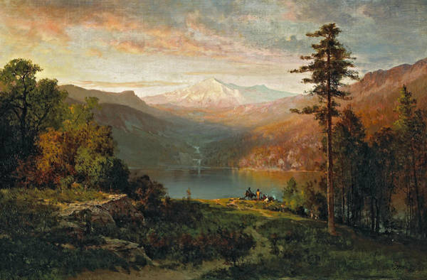 California Hills Painting - Indian By A Lake In A Majestic California Landscape by Thomas Hill