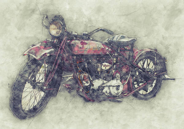Wall Art - Mixed Media - Indian Chief 1 - 1922 - Vintage Motorcycle Poster - Automotive Art by Studio Grafiikka