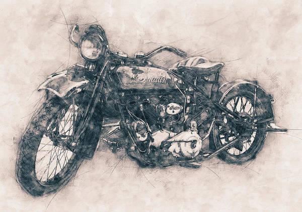 Custom Mixed Media - Indian Chief - 1922 - Vintage Motorcycle Poster - Automotive Art by Studio Grafiikka