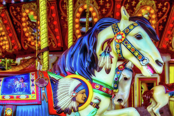 Photograph - Indian Chief Carrousel Horse by Garry Gay
