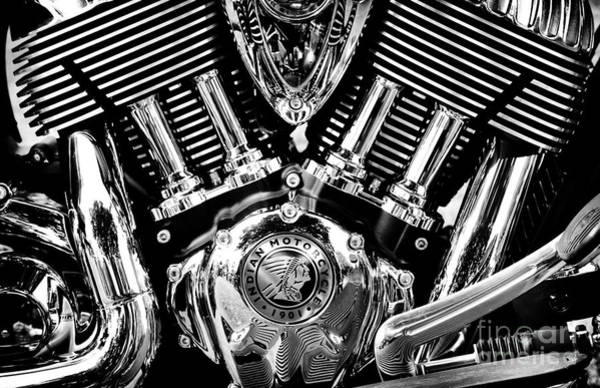 Photograph - Indian Chief Engine Monochrome by Tim Gainey