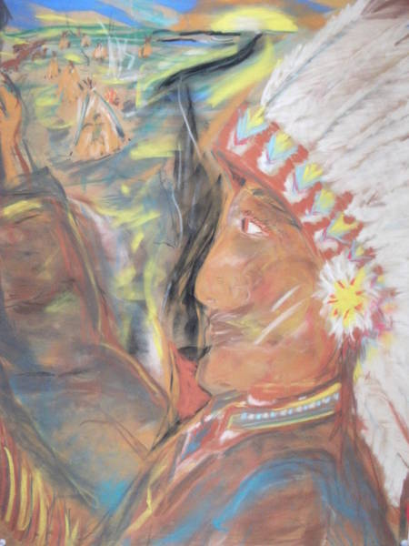 Indian Chief On French Velvet Art Print by Bob Smith