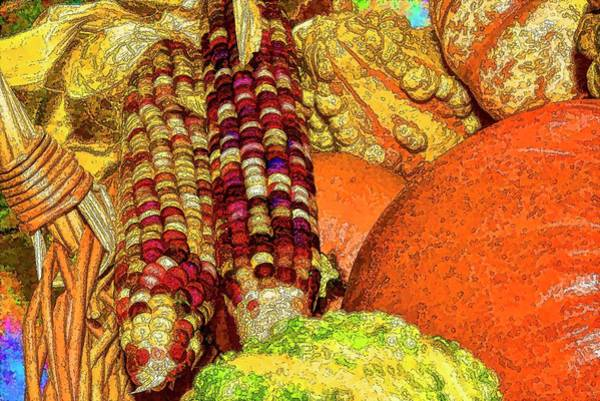 Wicker Basket Digital Art - Indian Corn And Autumn Gourds I  by Linda Brody