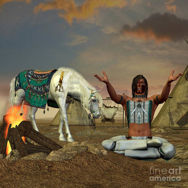 Native American Culture Painting - Indian Cry For Rain by Corey Ford