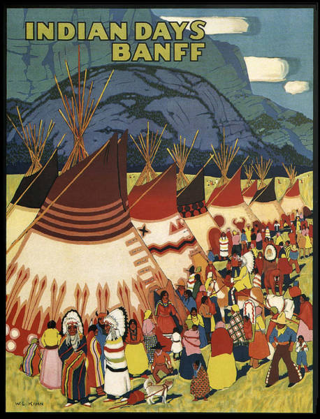 Indian Camp Painting - Indian Days In Banff by Long Shot