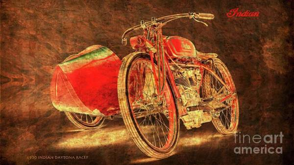 Racer Digital Art - 1920 Indian Daytona Racer Sidecar by Drawspots Illustrations