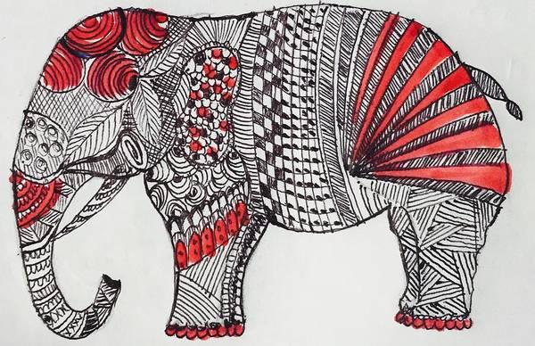 Kalamkari Painting - Indian Elephant by Sonal P