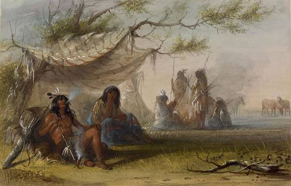 Indian Camp Painting - Indian Encampment by Jacob Miller