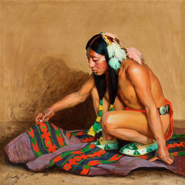Turkey Feather Wall Art - Painting - Indian Examining A Blanket by Eanger Irving Couse