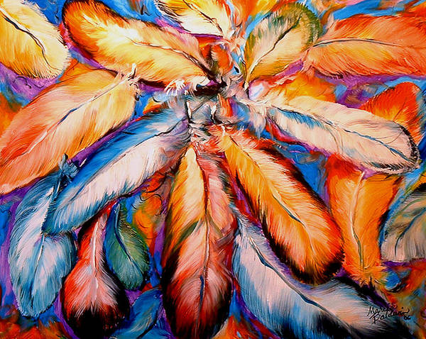 Painting - Indian Feathers 2006 by Marcia Baldwin