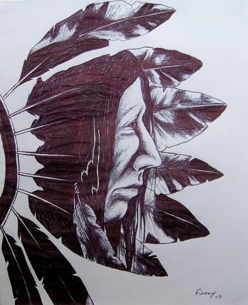 Drawing - Indian Feathers by Michael  TMAD Finney