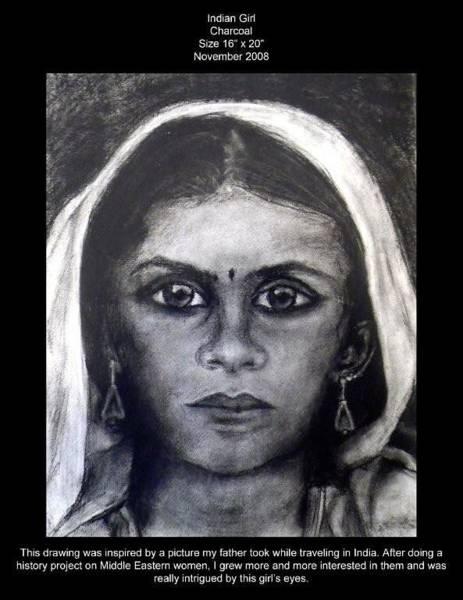 Wall Art - Drawing - Indian Girl by Lauren  Pecor