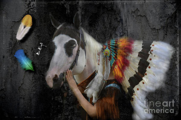 Horse Feathers Digital Art - Indian Horse by Maria Astedt