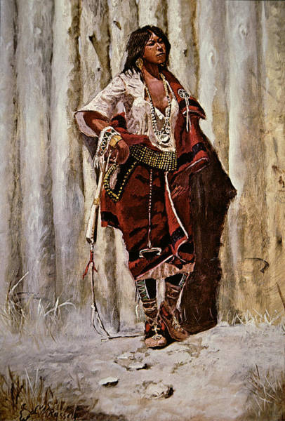 Native Painting - Indian Maid At The Stockade by Charles Marion Russell