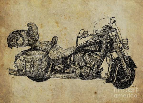 Wall Art - Drawing - Indian Motorcycle On Vintage Background, Gift For Bikers, Man Cave Decoration by Drawspots Illustrations