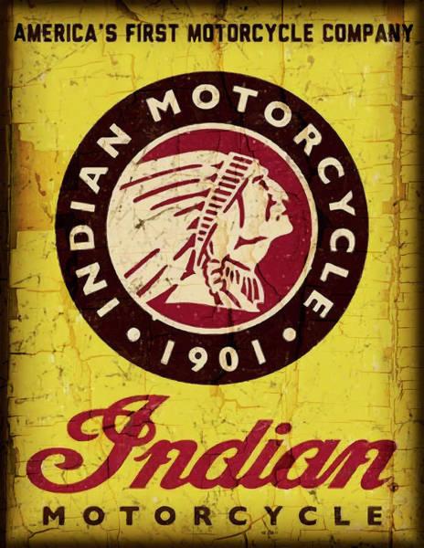 Wall Art - Digital Art - Indian Motorcycle Sign 1901 by Daniel Hagerman