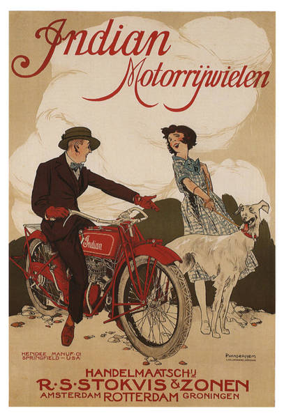 Wall Art - Mixed Media - Indian Motorrywielen - Indian Motorcycles - Vintage Advertising Poster by Studio Grafiikka