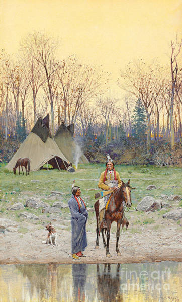 Indian Camp Painting - Indian On Horseback by Henry Francois Farny