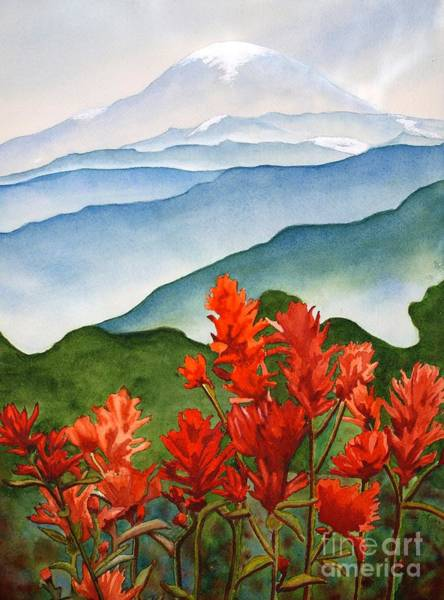 Mount Rainier Painting - Indian Paintbrush At Mout Rainier by Mary O'Haver