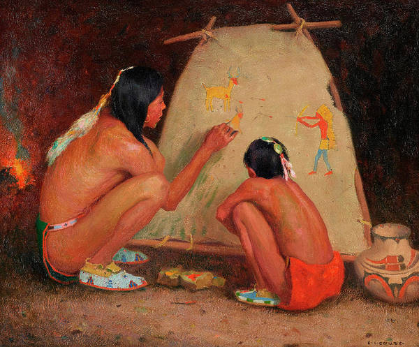 Native Painting - Indian Painter, 19th Century by Eanger Irving Couse