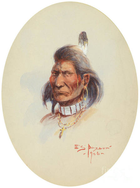 Native American Culture Painting - Indian Portrait  by Celestial Images