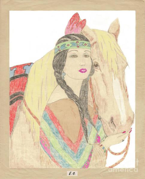 Drawing - Indian Princess At Fair by Donna L Munro