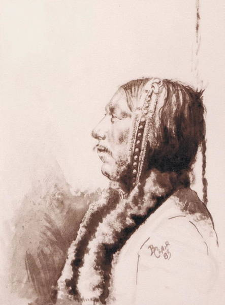 Drawing - Indian Profile by Barbara Keith