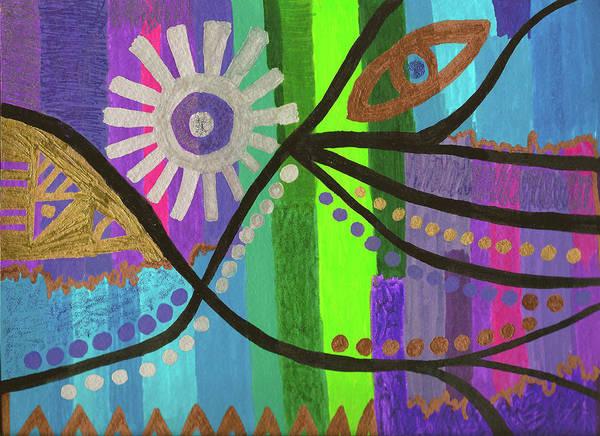 Drawing - Indian Rainbow Dance by Susan Schanerman