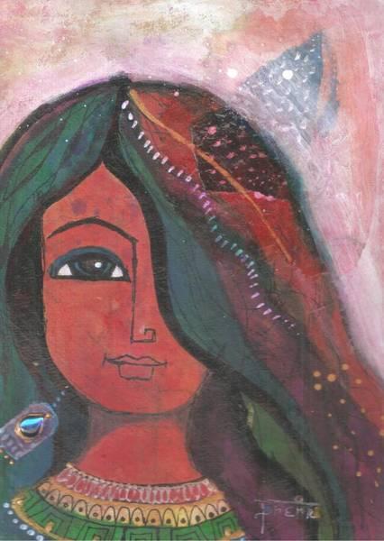 Mixed Media - Indian Rajasthani Woman by Prerna Poojara