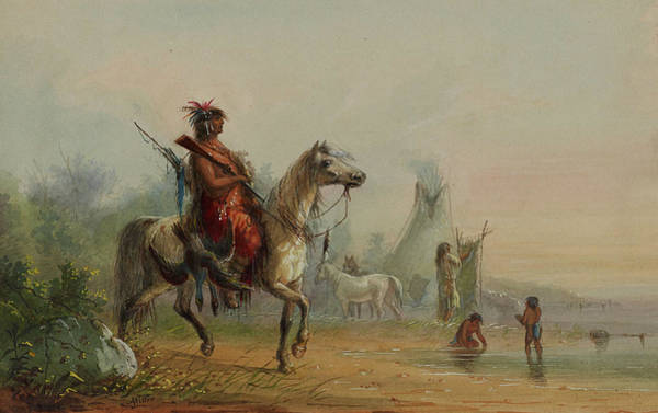 Camp Painting - Indian Returning To Camp With Game by Frederic Remington