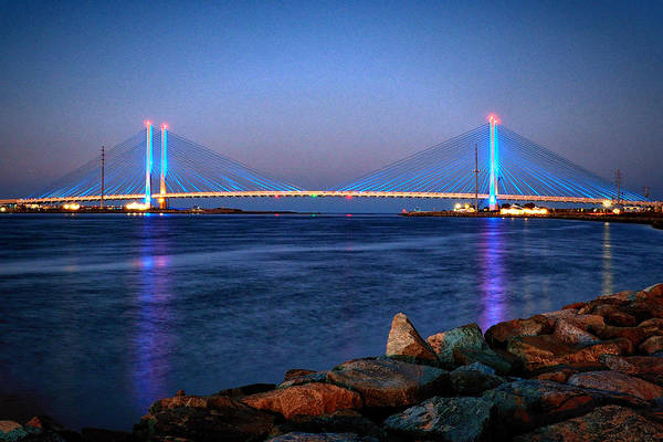 Delaware Photograph - Indian River Inlet Bridge Twilight by Bill Swartwout Photography