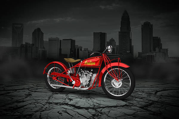 Wall Art - Digital Art - Indian Scout 1928 City by Aged Pixel