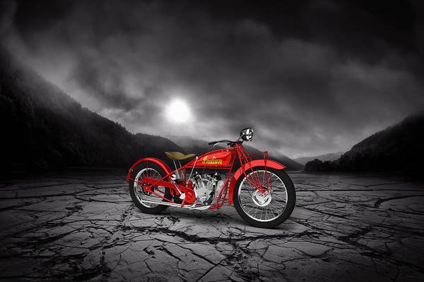 Wall Art - Digital Art - Indian Scout 1928 Mountains by Aged Pixel
