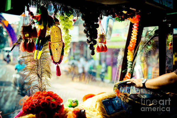 Photograph - Indian Street From Window In The Bus Kerala India by Raimond Klavins