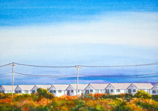 Indian Summer Days Cottages North Truro Massachusetts Watercolor Painting Art Print