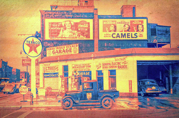 Digital Art - Indian Trails Texaco Garage by David King