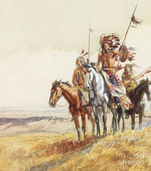 Native Headdress Painting - Indian War Party by Charles Marion Russell