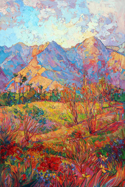 Ocotillo Wall Art - Painting - Indian Wells In Bloom by Erin Hanson